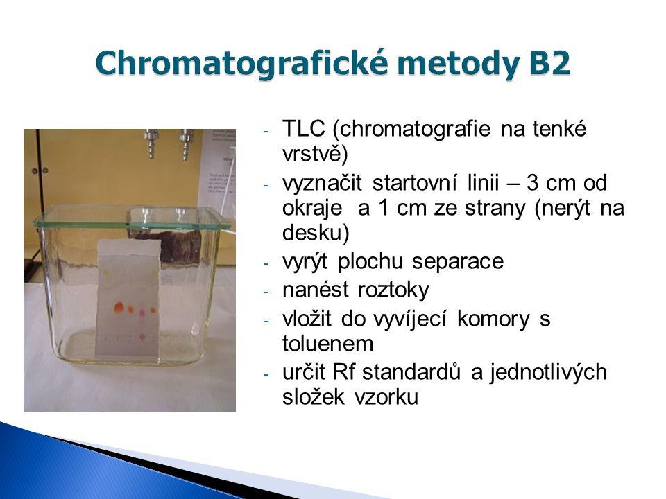 - TLC (chromatografie na tenké vrstvě) - vyznačit startovní linii – 3 cm od okraje a 1 cm ze strany (nerýt na desku) - vyrýt plochu separace - nanést