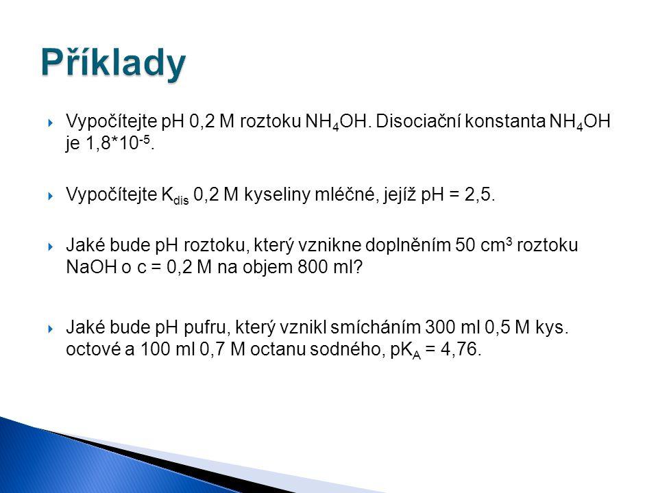  Vypočítejte pH 0,2 M roztoku NH 4 OH. Disociační konstanta NH 4 OH je 1,8*10 -5.  Vypočítejte K dis 0,2 M kyseliny mléčné, jejíž pH = 2,5.  Jaké b