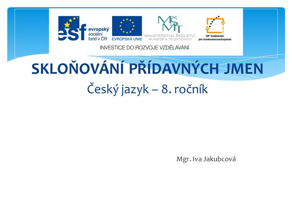 SKLOŇOVÁNÍ PŘÍDAVNÝCH JMEN Český jazyk – 8. ročník Mgr. Iva Jakubcová