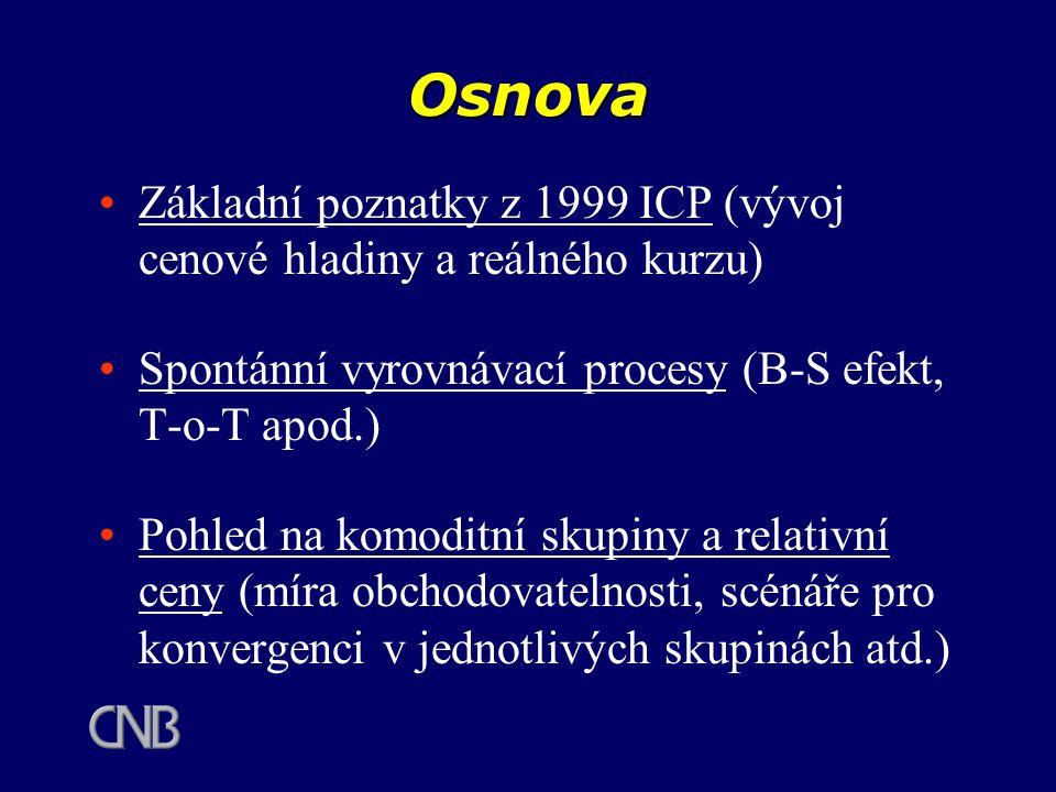 Osnova Základní poznatky z 1999 ICP (vývoj cenové hladiny a reálného kurzu) Spontánní vyrovnávací procesy (B-S efekt, T-o-T apod.) Pohled na komoditní