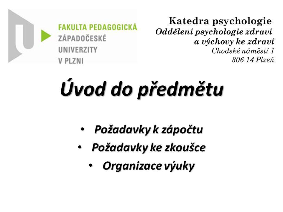 Požadavky ke zkoušce Znalost odpřednášených témat z psychosomatiky na úrovni zapamatování, porozumění a aplikace do analogických příkladů:  Termíny budou vypsány na Portále ZČU.