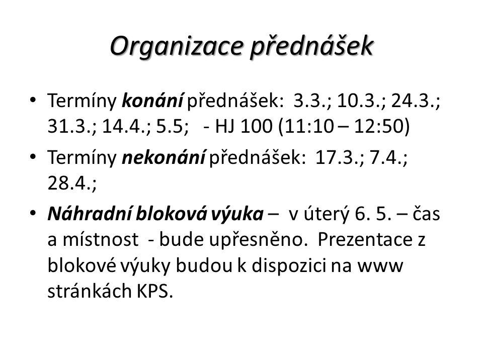 Organizace přednášek Termíny konání přednášek: 3.3.; 10.3.; 24.3.; 31.3.; 14.4.; 5.5; - HJ 100 (11:10 – 12:50) Termíny nekonání přednášek: 17.3.; 7.4.; 28.4.; Náhradní bloková výuka – v úterý 6.
