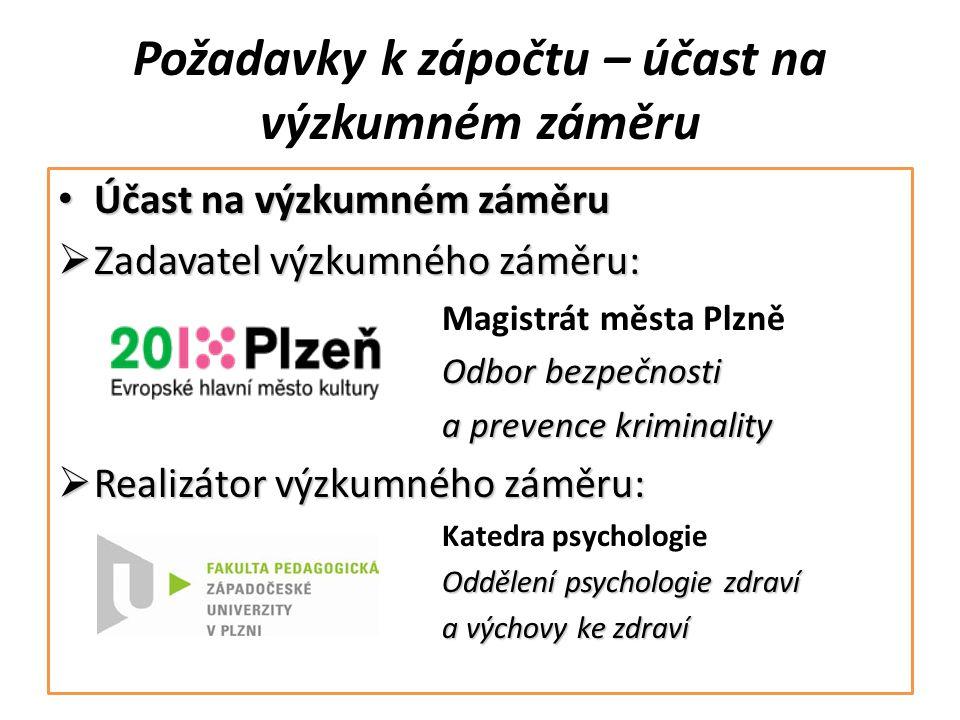 Požadavky k zápočtu – účast na výzkumném záměru Účast na výzkumném záměru Účast na výzkumném záměru  Zadavatel výzkumného záměru: Magistrát města Plz