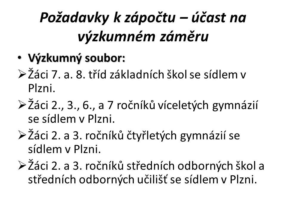 Požadavky k zápočtu – účast na výzkumném záměru Výzkumný soubor: Výzkumný soubor:  Žáci 7. a. 8. tříd základních škol se sídlem v Plzni.  Žáci 2., 3