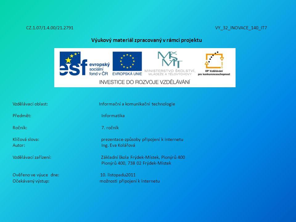 CZ.1.07/1.4.00/21.2791 VY_32_INOVACE_140_IT7 Výukový materiál zpracovaný v rámci projektu Vzdělávací oblast: Informační a komunikační technologie Předmět:Informatika Ročník:7.