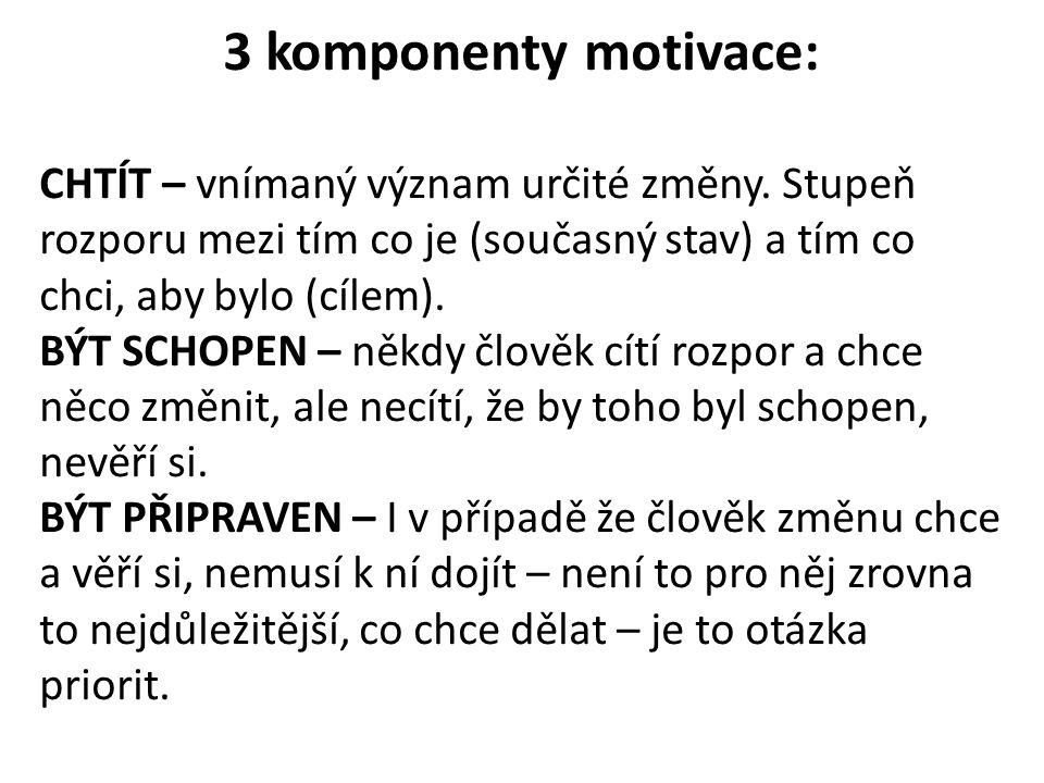 3 komponenty motivace: CHTÍT – vnímaný význam určité změny. Stupeň rozporu mezi tím co je (současný stav) a tím co chci, aby bylo (cílem). BÝT SCHOPEN