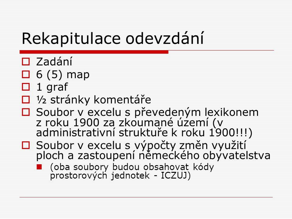 Rekapitulace odevzdání  Zadání  6 (5) map  1 graf  ½ stránky komentáře  Soubor v excelu s převedeným lexikonem z roku 1900 za zkoumané území (v administrativní struktuře k roku 1900!!!)  Soubor v excelu s výpočty změn využití ploch a zastoupení německého obyvatelstva (oba soubory budou obsahovat kódy prostorových jednotek - ICZUJ)