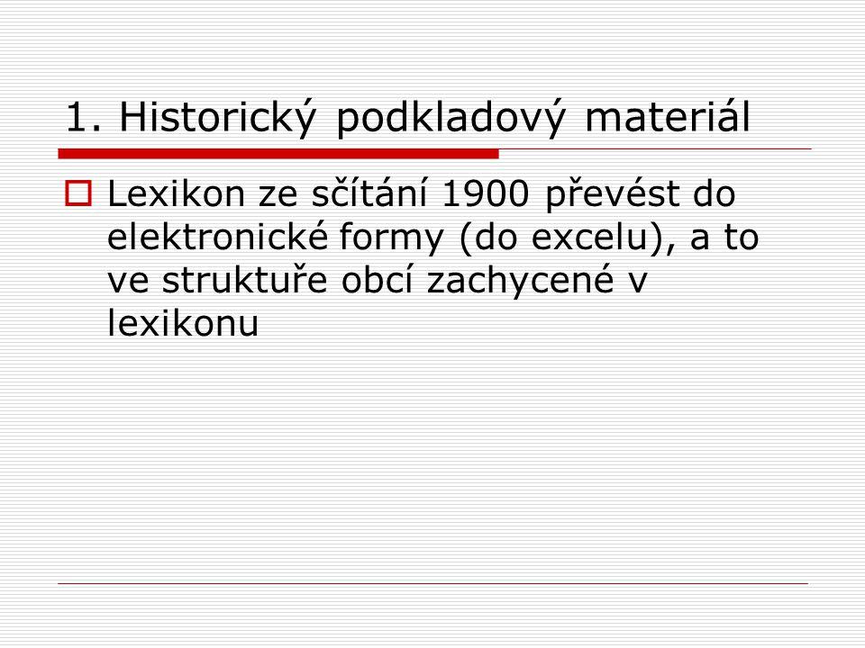 1. Historický podkladový materiál  Lexikon ze sčítání 1900 převést do elektronické formy (do excelu), a to ve struktuře obcí zachycené v lexikonu
