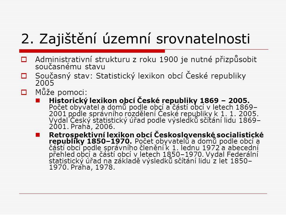 2. Zajištění územní srovnatelnosti  Administrativní strukturu z roku 1900 je nutné přizpůsobit současnému stavu  Současný stav: Statistický lexikon
