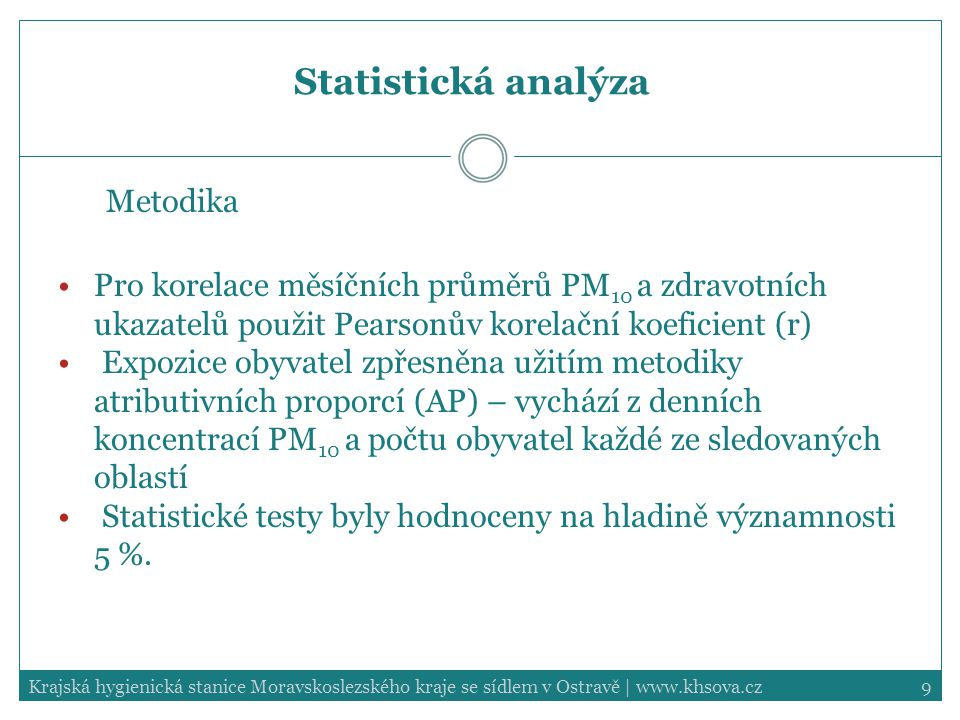 9Krajská hygienická stanice Moravskoslezského kraje se sídlem v Ostravě | www.khsova.cz Statistická analýza Metodika Pro korelace měsíčních průměrů PM 10 a zdravotních ukazatelů použit Pearsonův korelační koeficient (r) Expozice obyvatel zpřesněna užitím metodiky atributivních proporcí (AP) – vychází z denních koncentrací PM 10 a počtu obyvatel každé ze sledovaných oblastí Statistické testy byly hodnoceny na hladině významnosti 5 %.