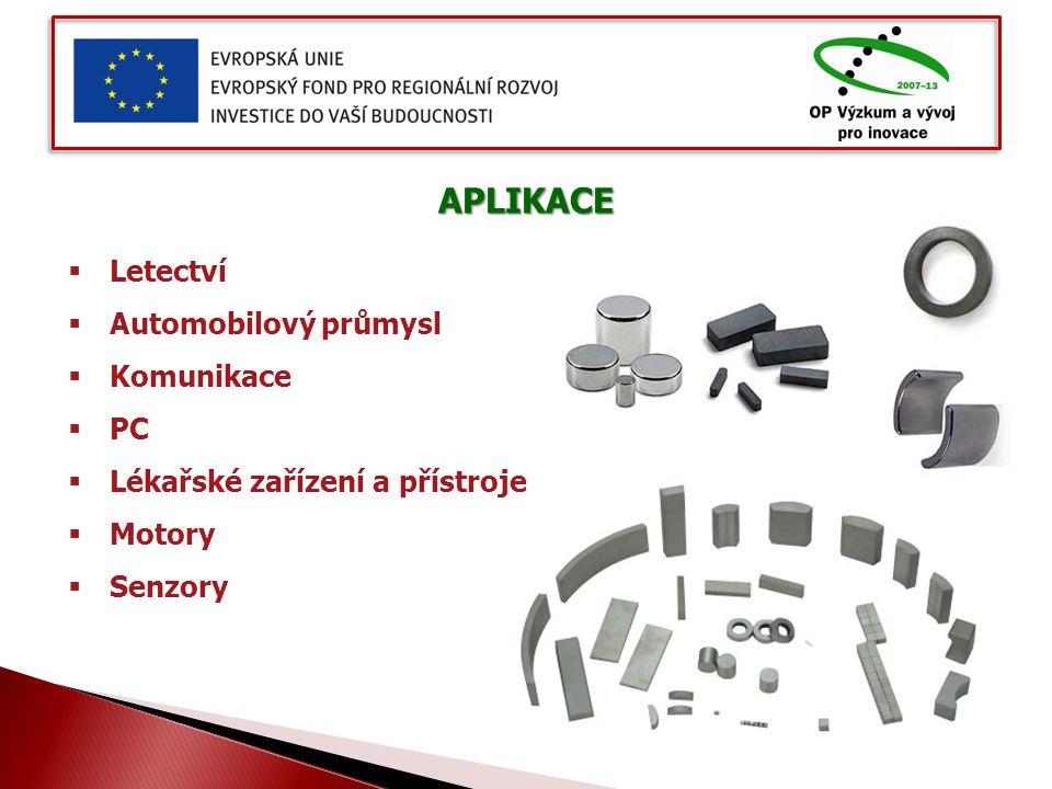 APLIKACE  Letectví  Automobilový průmysl  Komunikace  PC  Lékařské zařízení a přístroje  Motory  Senzory