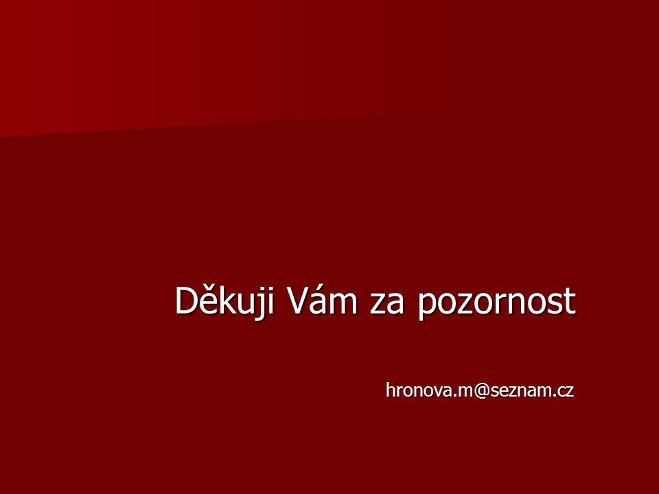 Děkuji Vám za pozornost Děkuji Vám za pozornost hronova.m@seznam.cz hronova.m@seznam.cz