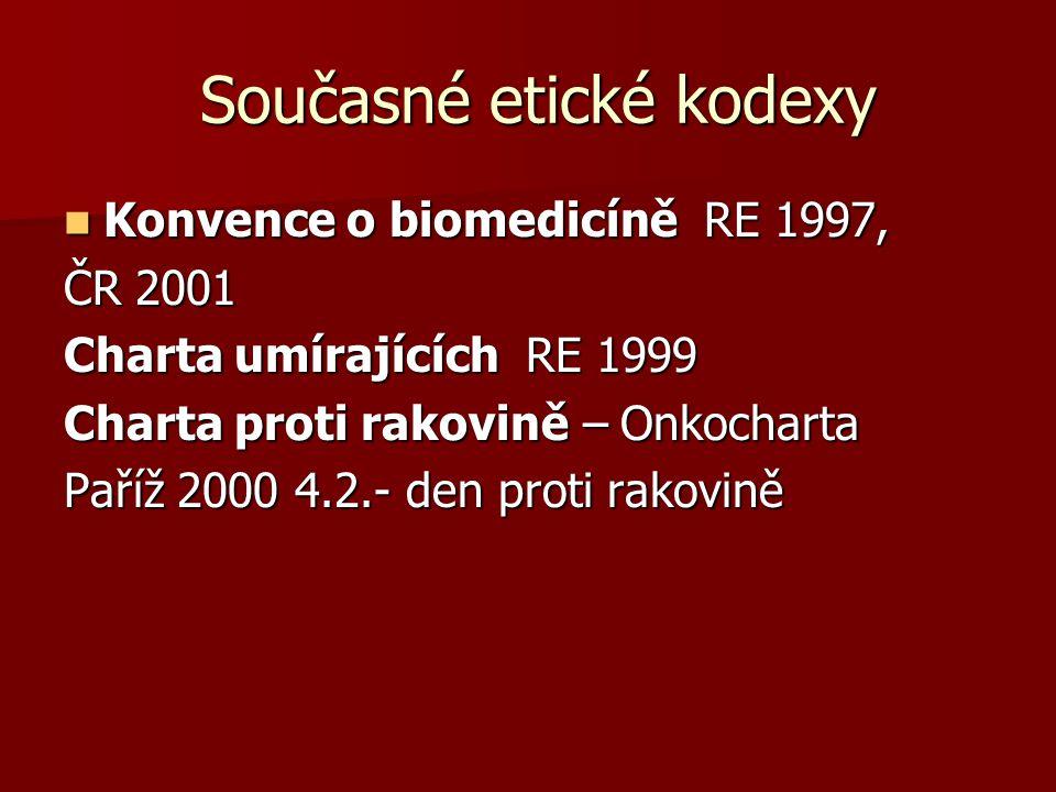 Současné etické kodexy Současné etické kodexy Konvence o biomedicíně RE 1997, Konvence o biomedicíně RE 1997, ČR 2001 Charta umírajících RE 1999 Charta proti rakovině – Onkocharta Paříž 2000 4.2.- den proti rakovině