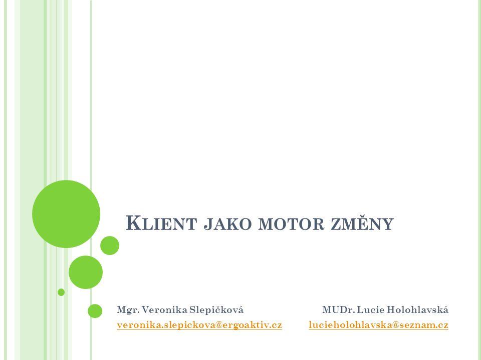 I NDIVIDUÁLNÍ CÍLE aneb Klient jako partner a spolutvůrce terapie Mgr. Veronika Slepičková