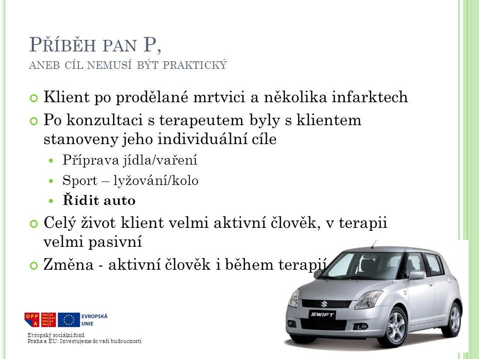 Evropský sociální fond Praha a EU: Investujeme do vaší budoucnosti P ŘÍBĚH PAN P, ANEB CÍL NEMUSÍ BÝT PRAKTICKÝ Klient po prodělané mrtvici a několika