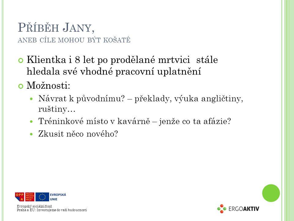 Evropský sociální fond Praha a EU: Investujeme do vaší budoucnosti P ŘÍBĚH J ANY, ANEB CÍLE MOHOU BÝT KOŠATÉ Klientka i 8 let po prodělané mrtvici stále hledala své vhodné pracovní uplatnění Možnosti: Návrat k původnímu.