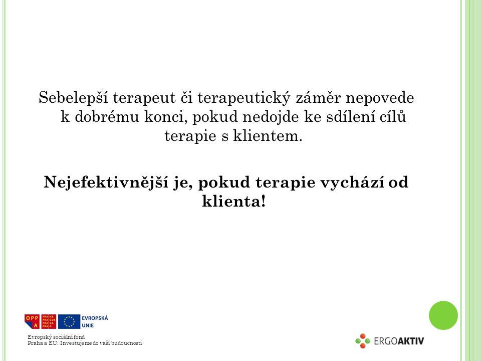 Evropský sociální fond Praha a EU: Investujeme do vaší budoucnosti Sebelepší terapeut či terapeutický záměr nepovede k dobrému konci, pokud nedojde ke sdílení cílů terapie s klientem.