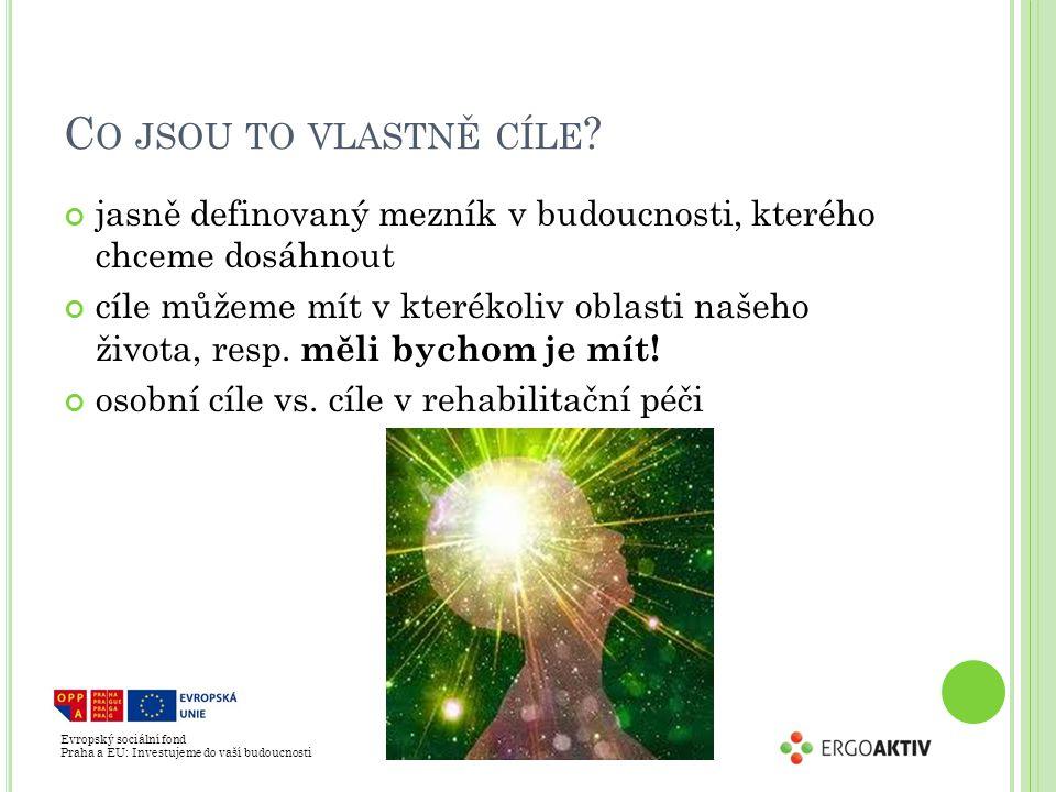 Evropský sociální fond Praha a EU: Investujeme do vaší budoucnosti C O JSOU TO VLASTNĚ CÍLE ? jasně definovaný mezník v budoucnosti, kterého chceme do
