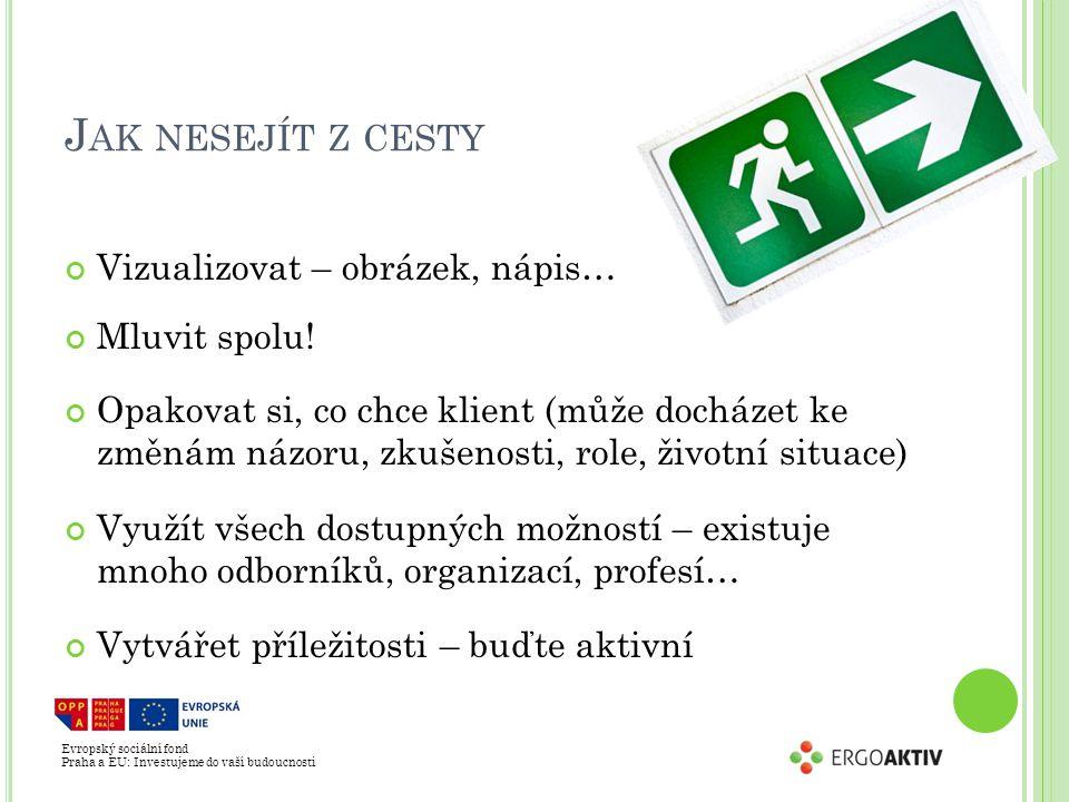 Evropský sociální fond Praha a EU: Investujeme do vaší budoucnosti J AK NESEJÍT Z CESTY Vizualizovat – obrázek, nápis… Mluvit spolu.