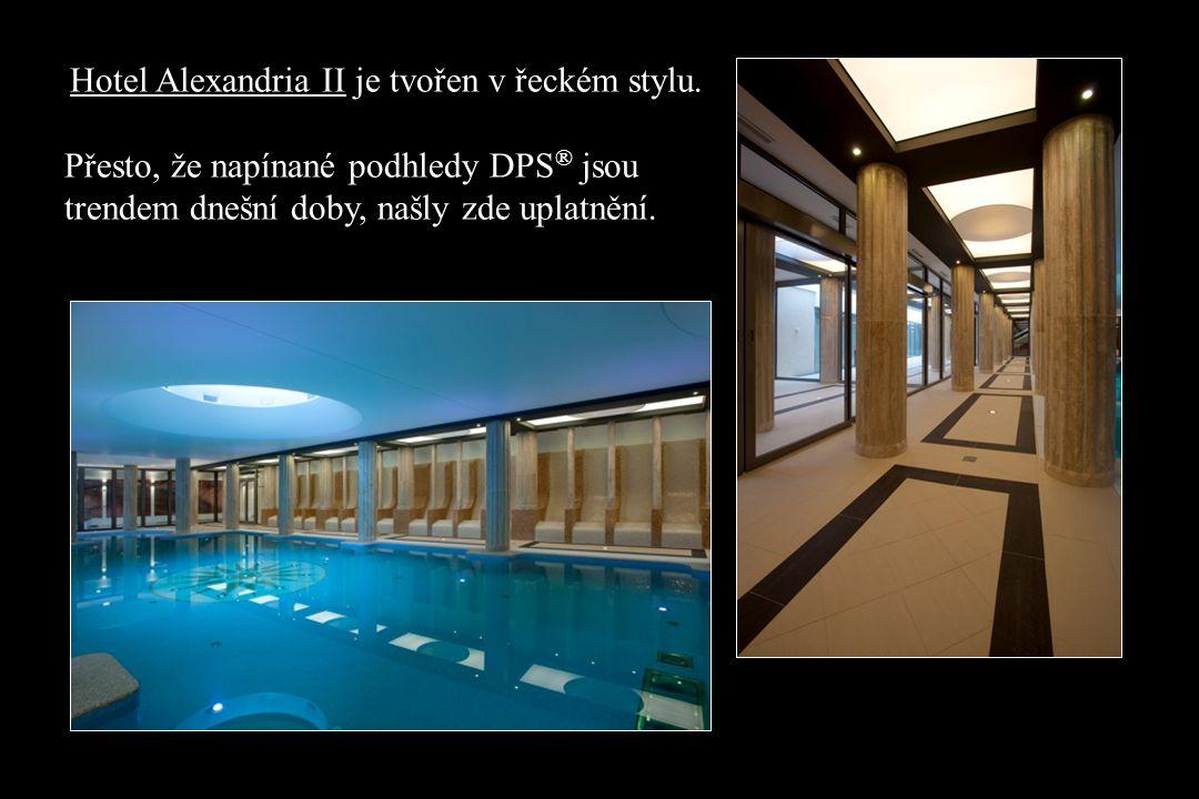 Hotel Alexandria II je tvořen v řeckém stylu.