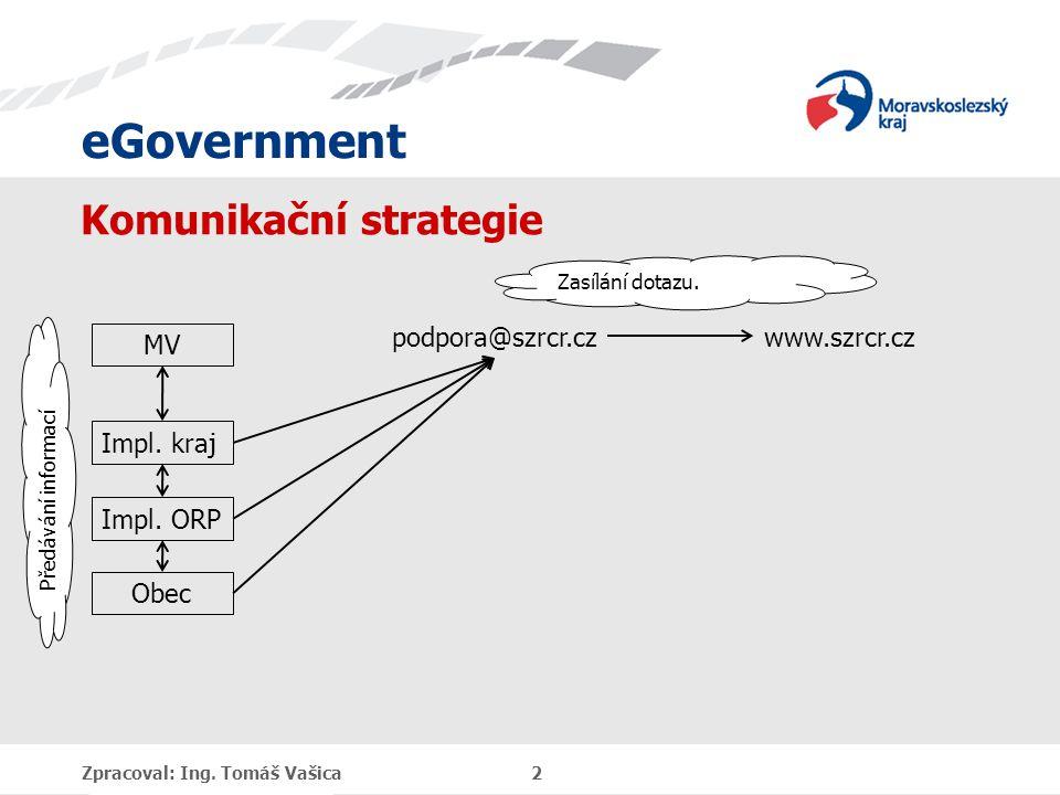 eGovernment Komunikační strategie Zpracoval: Ing. Tomáš Vašica 2 Impl.