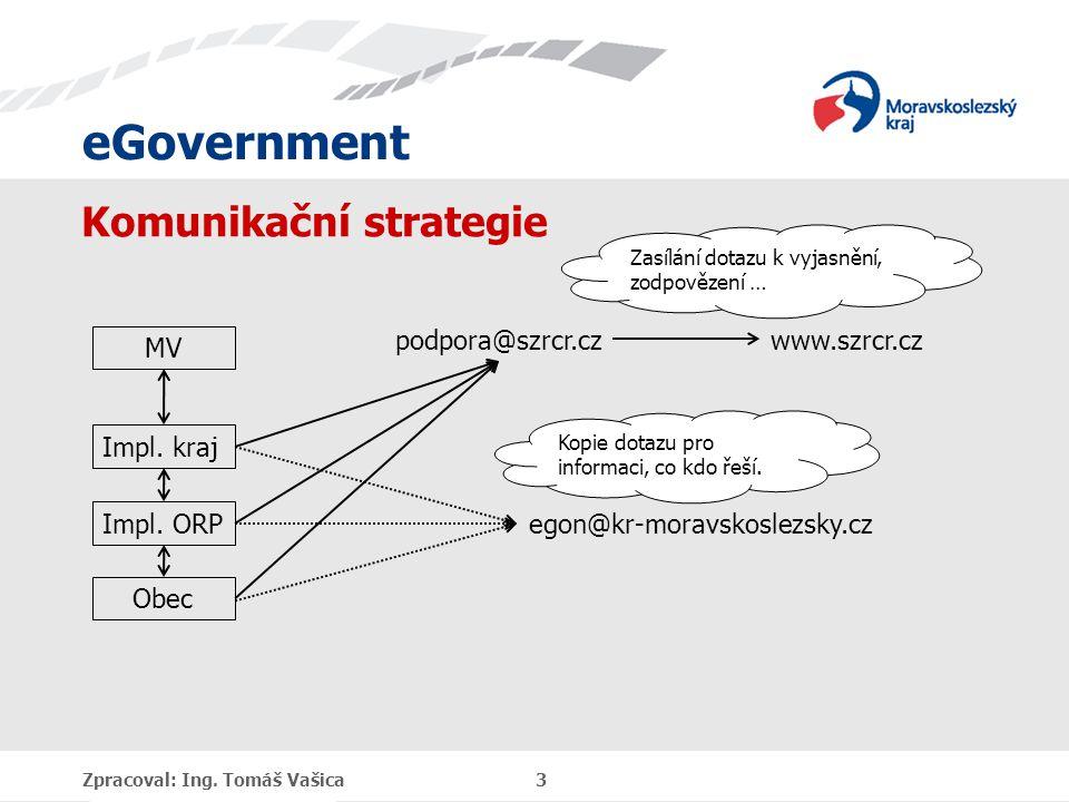 eGovernment Komunikační strategie Zpracoval: Ing. Tomáš Vašica 3 Impl.