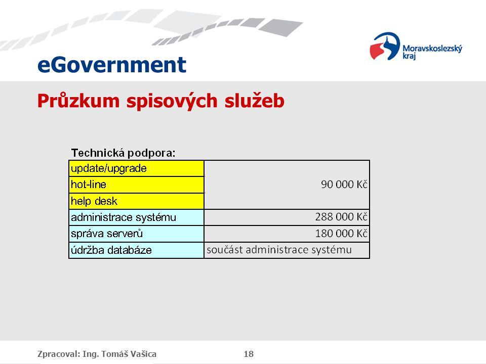eGovernment Průzkum spisových služeb Zpracoval: Ing. Tomáš Vašica 18