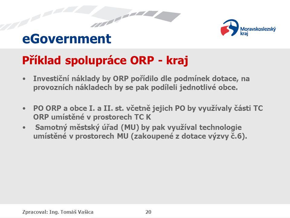 eGovernment Příklad spolupráce ORP - kraj Investiční náklady by ORP pořídilo dle podmínek dotace, na provozních nákladech by se pak podíleli jednotlivé obce.