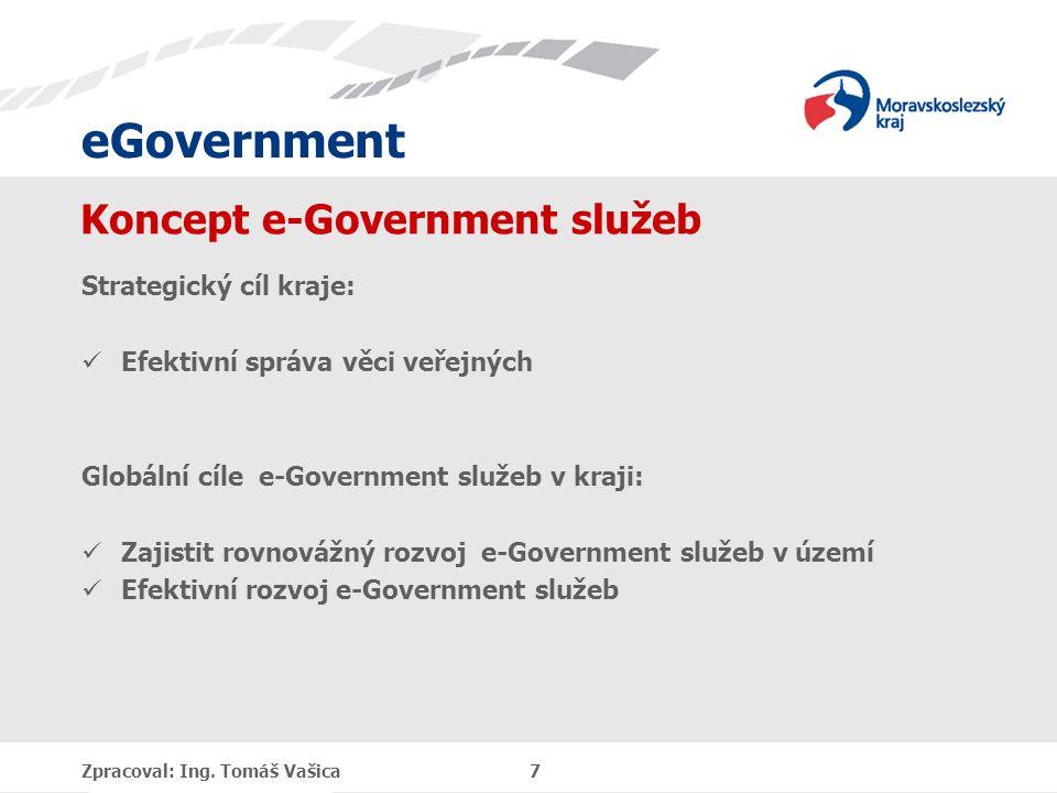 eGovernment Koncept e-Government služeb Strategický cíl kraje: Efektivní správa věci veřejných Globální cíle e-Government služeb v kraji: Zajistit rovnovážný rozvoj e-Government služeb v území Efektivní rozvoj e-Government služeb Zpracoval: Ing.
