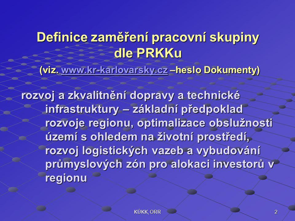 2KÚKK, ORR Definice zaměření pracovní skupiny dle PRKKu (viz. www.kr-karlovarsky.cz –heslo Dokumenty) www.kr-karlovarsky.cz rozvoj a zkvalitnění dopra
