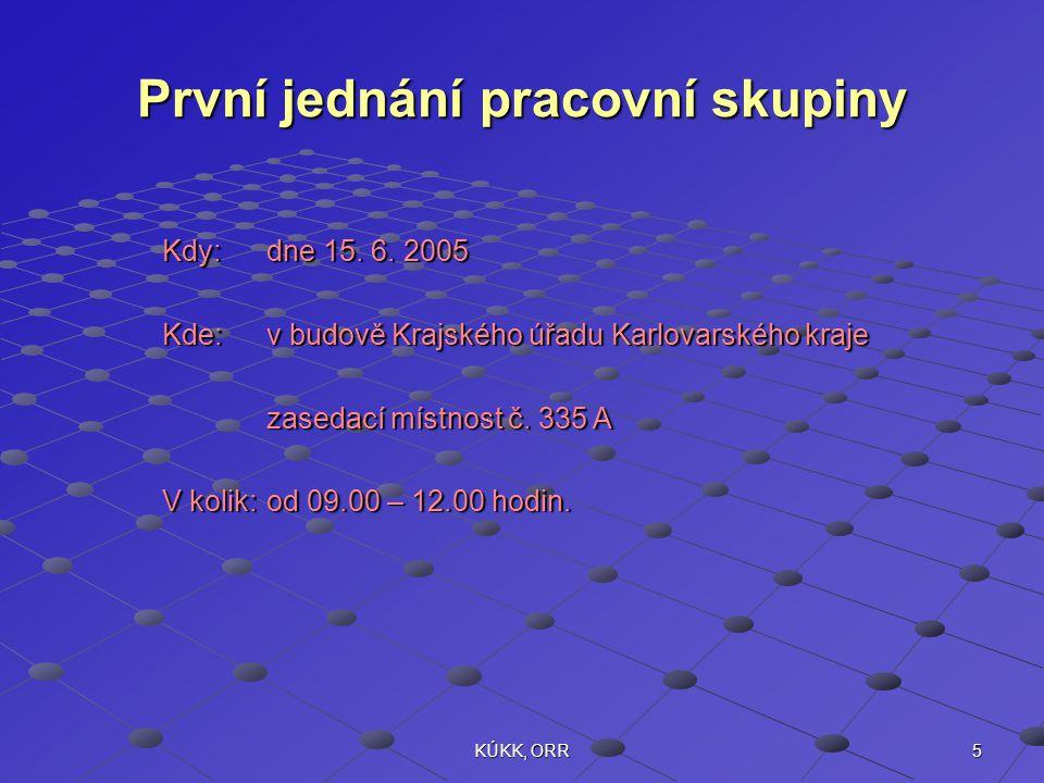 5KÚKK, ORR První jednání pracovní skupiny Kdy: dne 15.