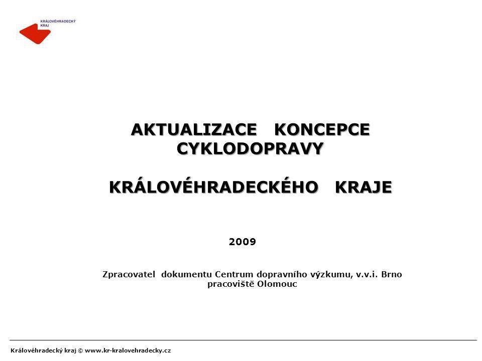 Královéhradecký kraj © www.kr-kralovehradecky.cz AKTUALIZACE KONCEPCE CYKLODOPRAVY KRÁLOVÉHRADECKÉHO KRAJE 2009 Zpracovatel dokumentu Centrum dopravní