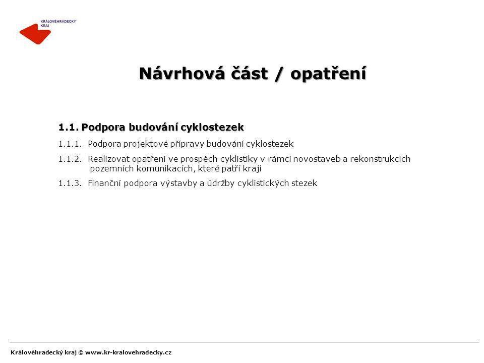 Královéhradecký kraj © www.kr-kralovehradecky.cz Návrhová část / opatření 1.1.2. Realizovat opatření ve prospěch cyklistiky v rámci novostaveb a rekon