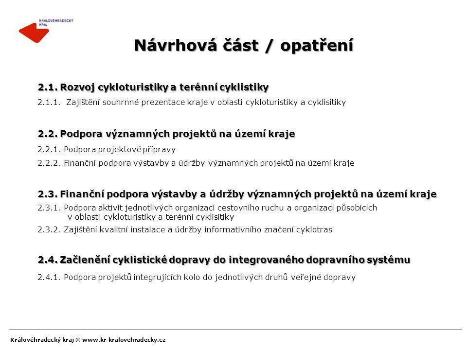 Královéhradecký kraj © www.kr-kralovehradecky.cz Návrhová část / opatření 2.2.1. Podpora projektové přípravy 2.3. Finanční podpora výstavby a údržby v