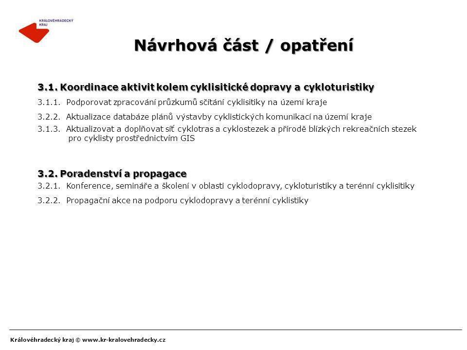 Královéhradecký kraj © www.kr-kralovehradecky.cz Návrhová část / opatření 3.2.2. Aktualizace databáze plánů výstavby cyklistických komunikací na území