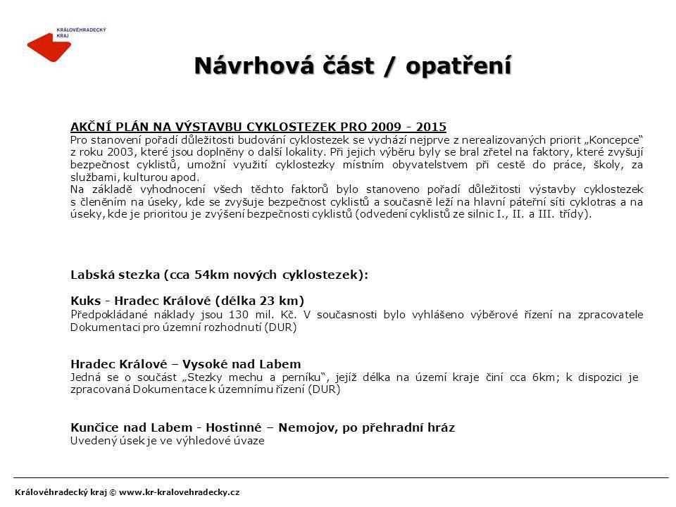 Královéhradecký kraj © www.kr-kralovehradecky.cz Návrhová část / opatření AKČNÍ PLÁN NA VÝSTAVBU CYKLOSTEZEK PRO 2009 - 2015 Pro stanovení pořadí důle