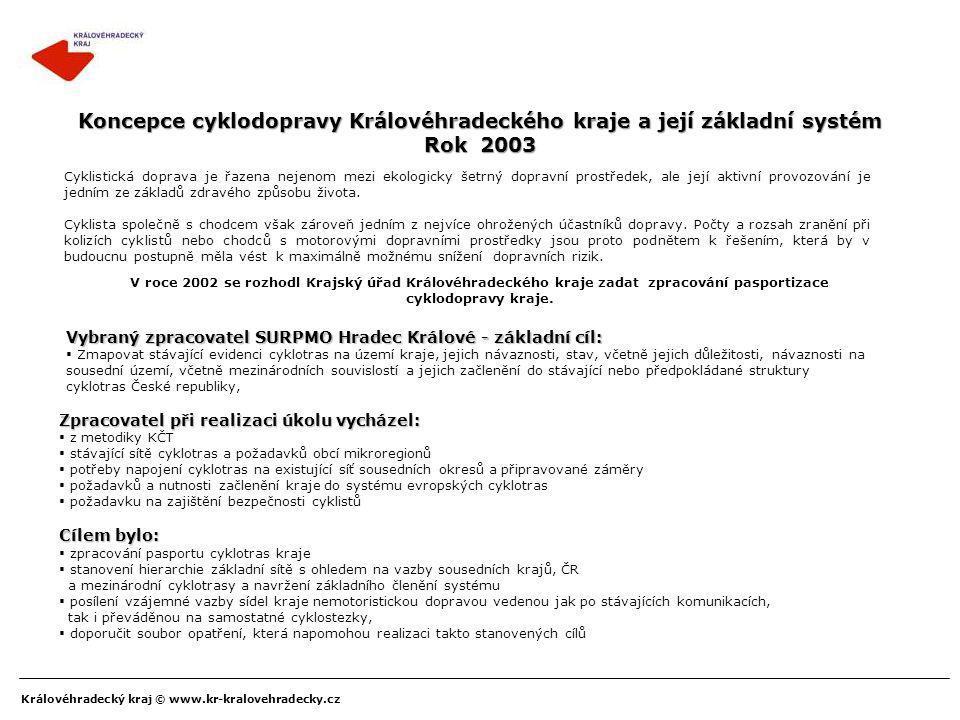 Královéhradecký kraj © www.kr-kralovehradecky.cz Koncepce cyklodopravy Královéhradeckého kraje a její základní systém Rok 2003 Cyklistická doprava je