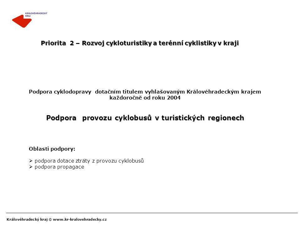 Královéhradecký kraj © www.kr-kralovehradecky.cz Podpora cyklodopravy dotačním titulem vyhlašovaným Královéhradeckým krajem každoročně od roku 2004 Po
