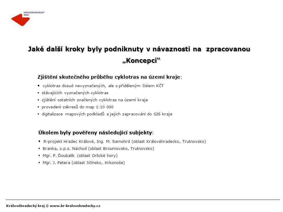 """Královéhradecký kraj © www.kr-kralovehradecky.cz Podpora financování realizace cyklostezek a cyklotras V roce 2004 tak byl poprvé vyhlášen dílčí program k podpoře cyklodopravy pod názvem: """"Podpora cyklodopravy v návaznosti na Koncepci cyklodopravy Královéhradeckého kraje """"Podpora cyklodopravy v návaznosti na Koncepci cyklodopravy Královéhradeckého kraje s označením SPD 200407 Následně pro rok 2005, 2006, 2007, 2008 a 2009 byl po drobnějších modelových úpravách vyhlášen výše uvedený program."""