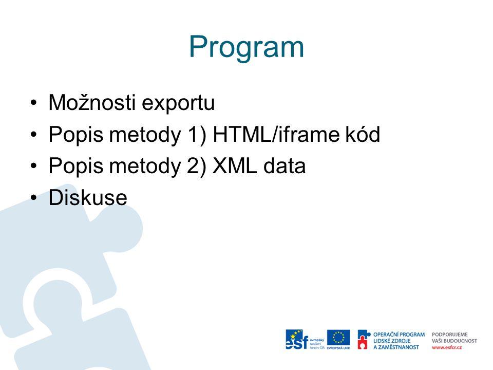 Program Možnosti exportu Popis metody 1) HTML/iframe kód Popis metody 2) XML data Diskuse
