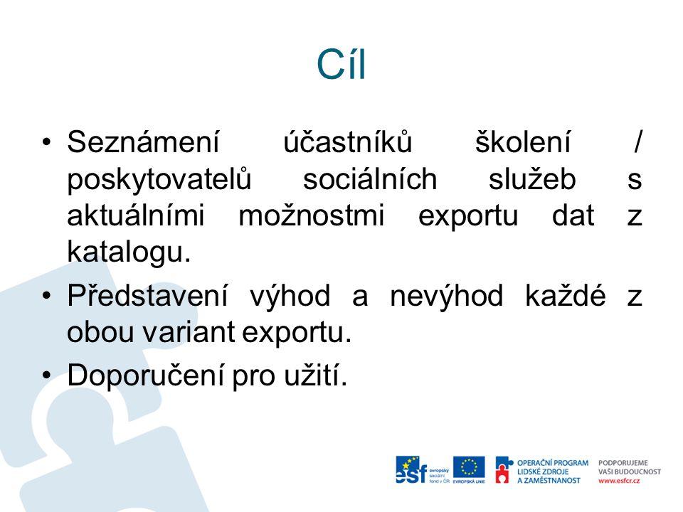 Cíl Seznámení účastníků školení / poskytovatelů sociálních služeb s aktuálními možnostmi exportu dat z katalogu.