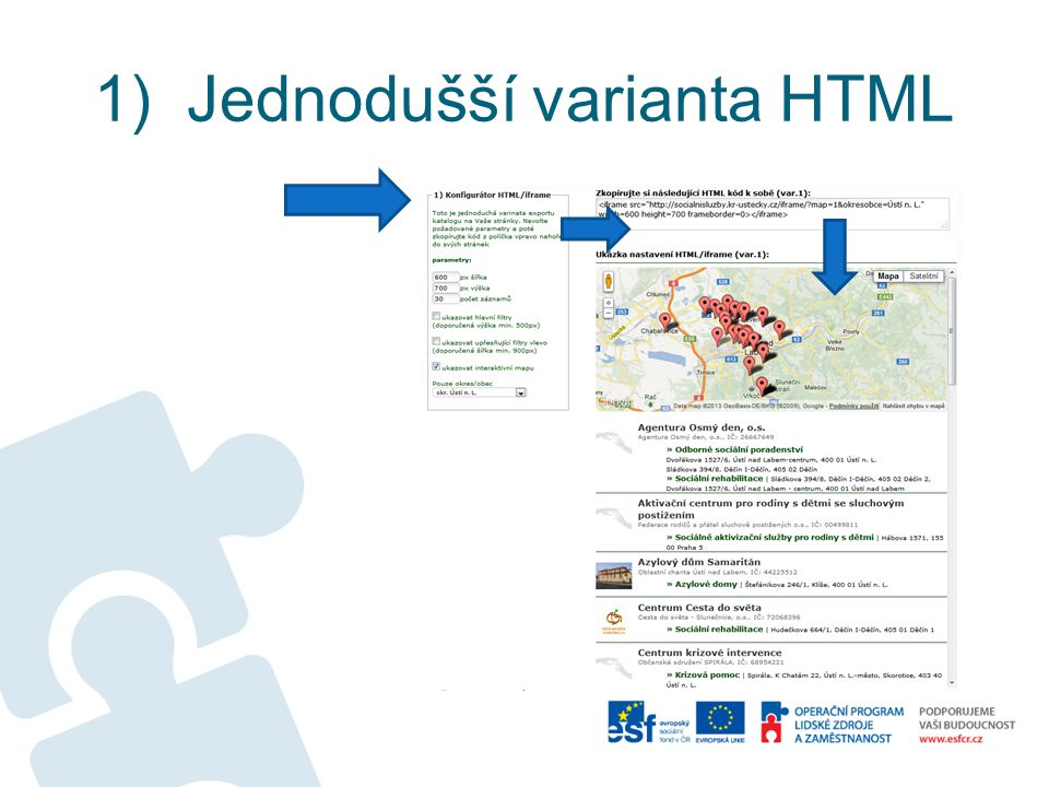 1) Jednodušší varianta HTML
