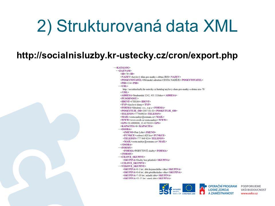2) Strukturovaná data XML http://socialnisluzby.kr-ustecky.cz/cron/export.php
