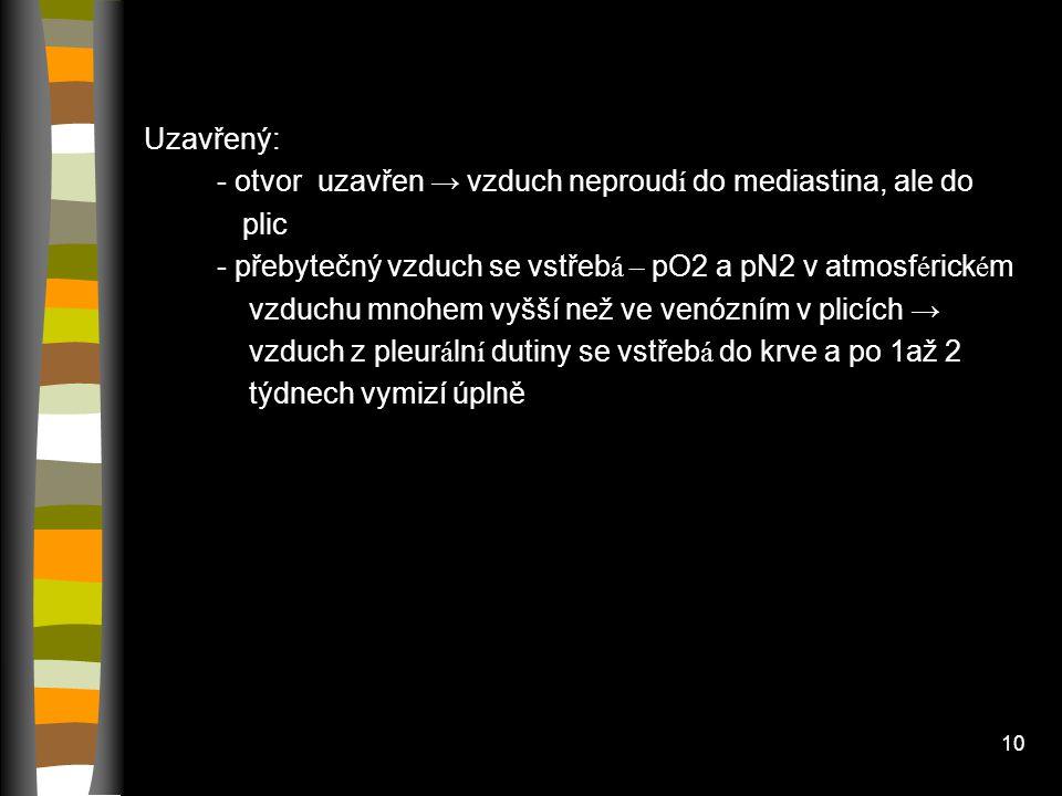 9 Pneumothorax Otevřený: - klid – intrapleur á ln í tlak na poraněn é straně vět ší než na zdrav é → mediastinum přesunuto ke zdravé straně -vdech – v