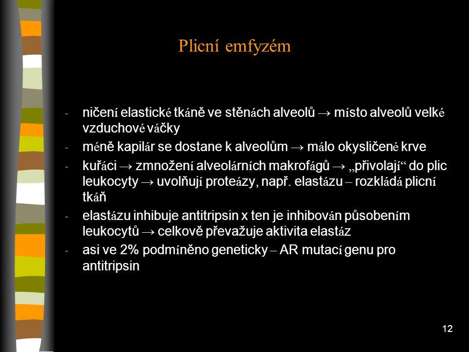 11 Cystická fibróza - hlen ucpe dýchac í cesty → br á n í tak průchodu vzduchu do plic - inaktivace kan á lu Cl v BM epitelových B v dýchac í ch cest
