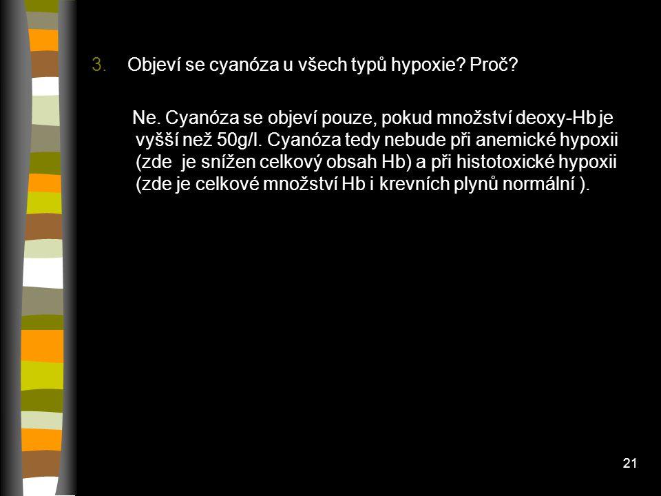 20 Diskuze 1. Proč se cyanóza v chladu objeví i u zdravých lidí???? V chladu dochází ke konstrikci kožních arteriol a venul, takže průtok kapilárami b