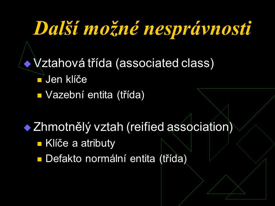  Vztahová třída (associated class) Jen klíče Vazební entita (třída)  Zhmotnělý vztah (reified association) Klíče a atributy Defakto normální entita