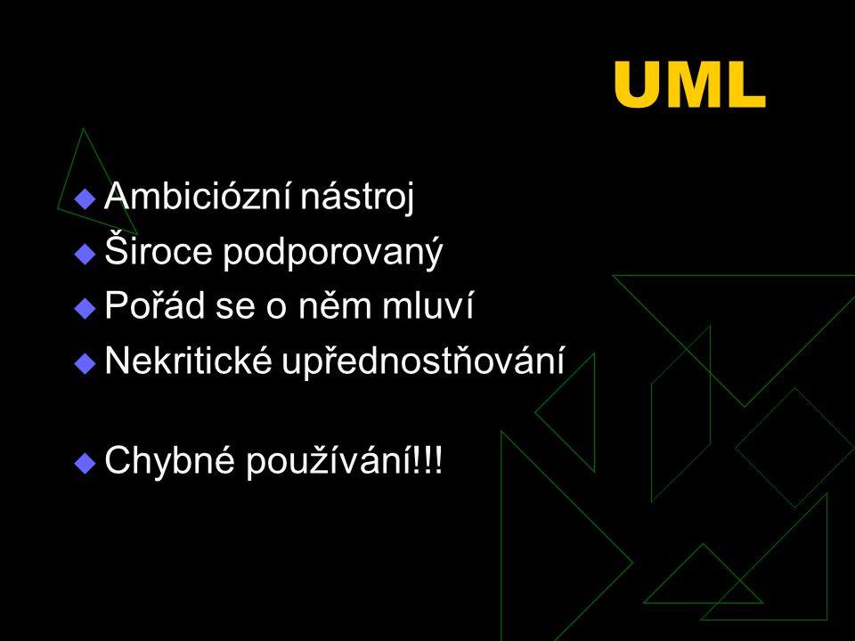 UML  Ambiciózní nástroj  Široce podporovaný  Pořád se o něm mluví  Nekritické upřednostňování  Chybné používání!!!
