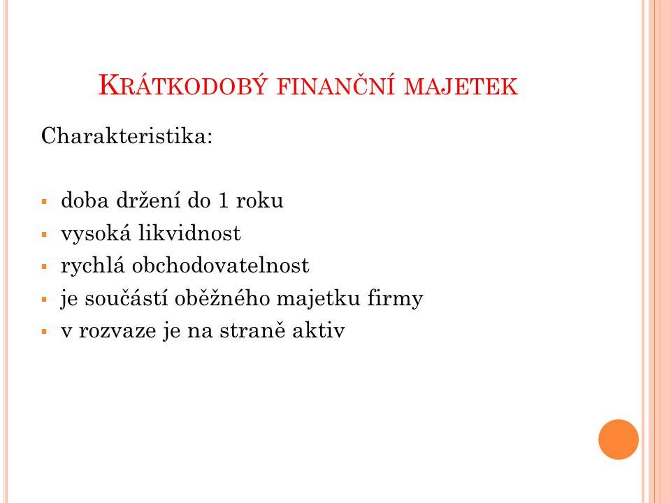 K RÁTKODOBÝ FINANČNÍ MAJETEK Členění krátkodobého finančního majetku (KFM): 1.