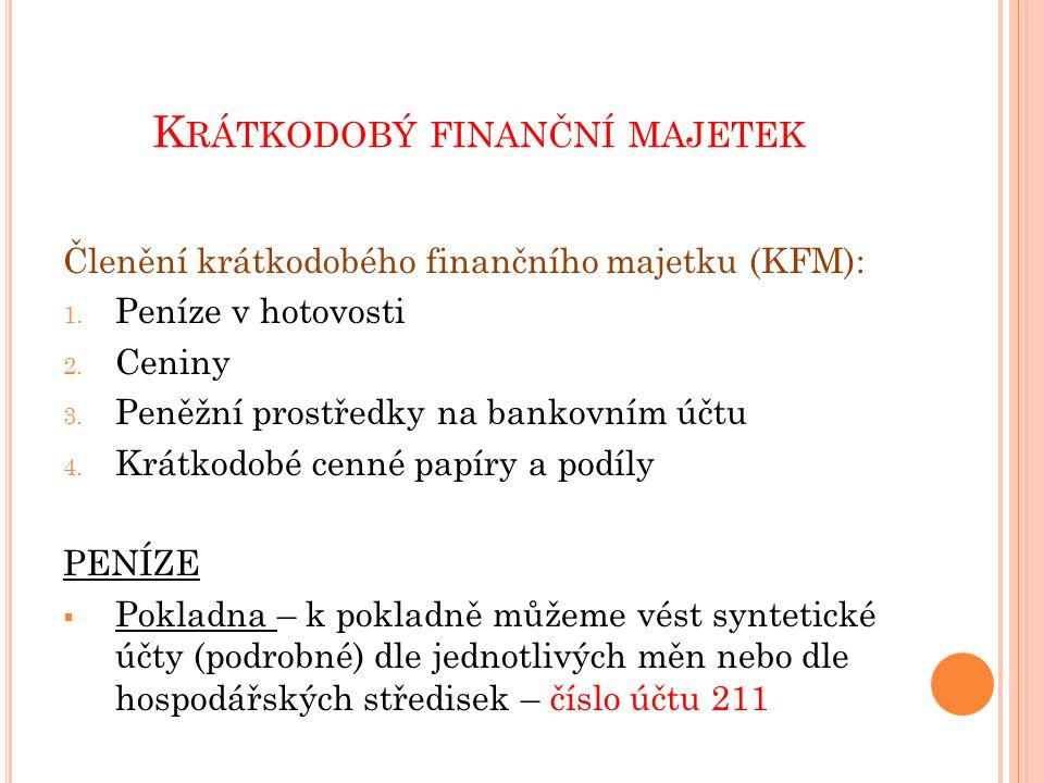 K RÁTKODOBÝ FINANČNÍ MAJETEK  Peníze v hotovosti se používají např.